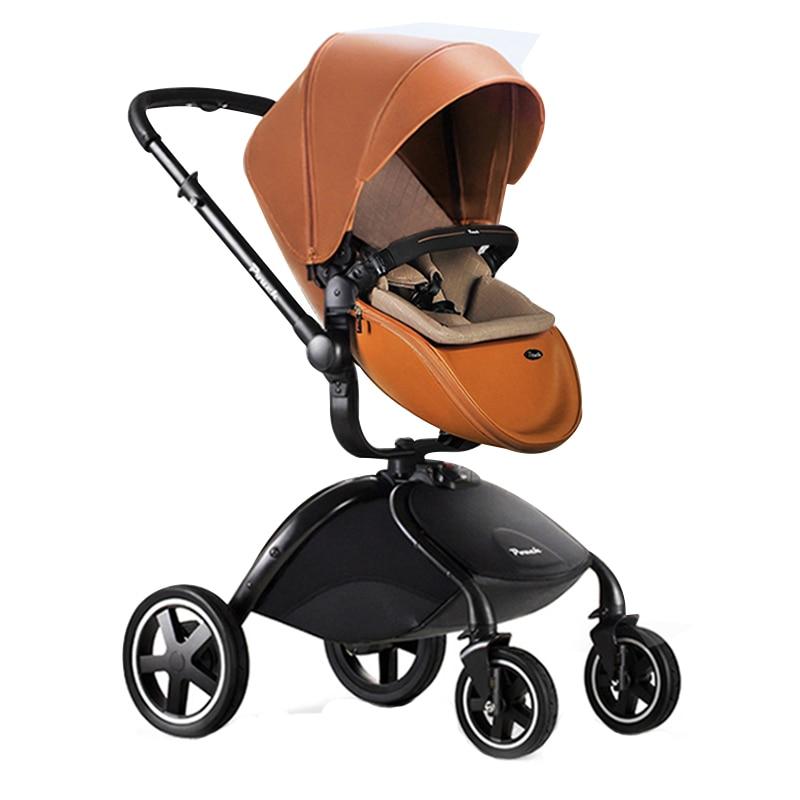 Brand baby strollers folding light EU big stroller leather make high landscape Pouch Baby car