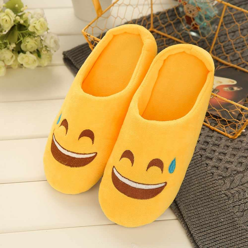 Unisex Warm Emoji Slipper IndoorsAnti-slip Winter House Shoes Slippers for Women Soft Velvet Winter Warm Shoes for Bedroom