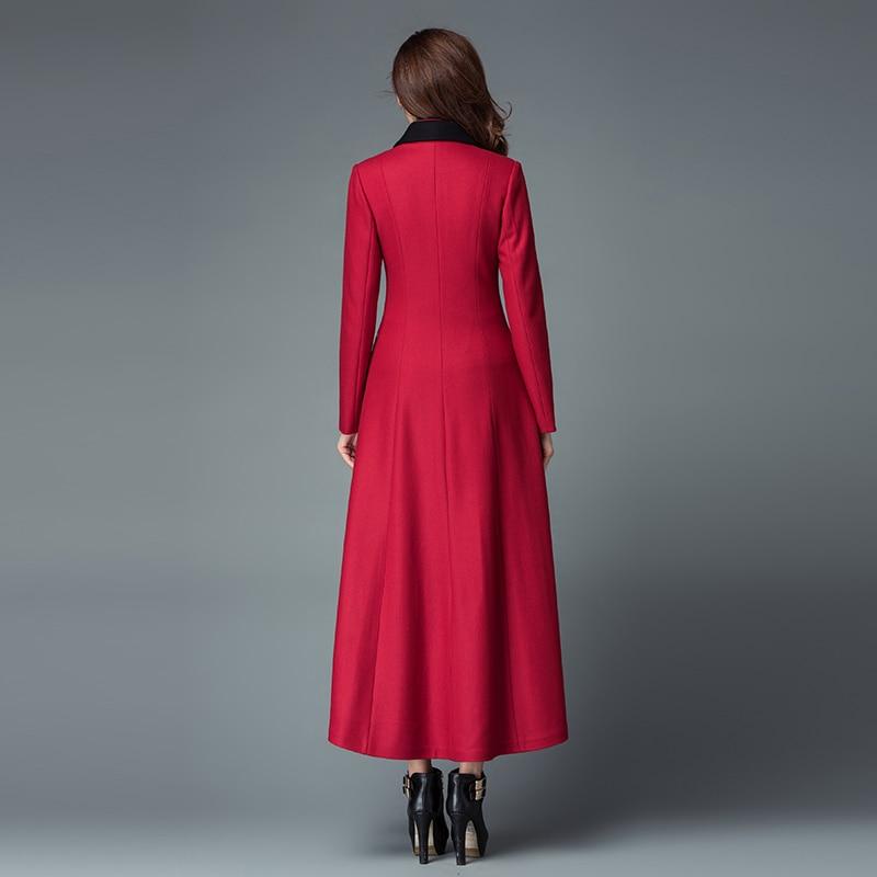 Chaud xxxl rouge D'hiver Manteau Femmes Single Long Mode Manteaux Élégante breasted Laine Mince S Cachemire Noir Veste Nouvelle Longue Épais Vestes xUqFvfn