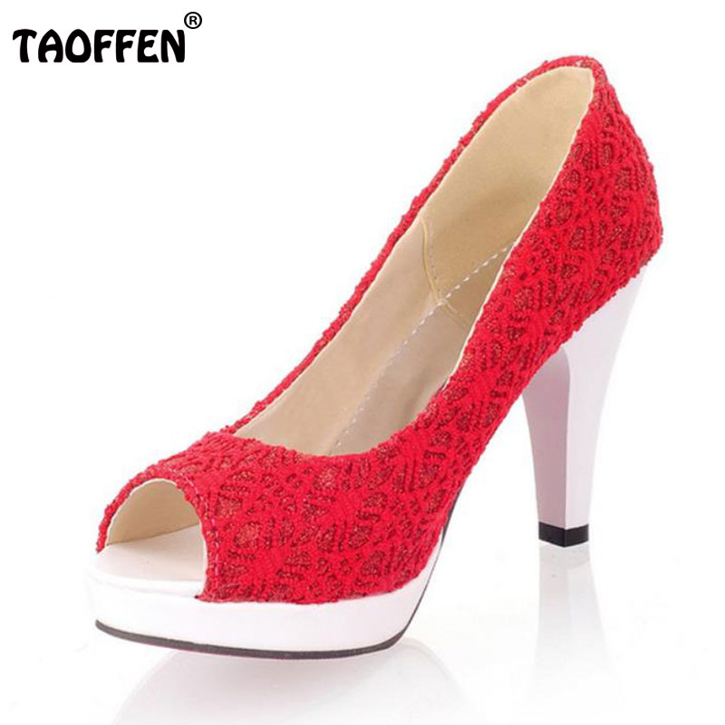 TAOFFEN Ladies Stiletto High Heels Peep Toe Shoes Shoes Women Wedding Lace Sexy Casual Slip-On Platform Pumps Size 31-43 PA00382 sexy women semi transparent lace high heels new 2017 ladies sequin shoes slip on thin heel pumps free shipping