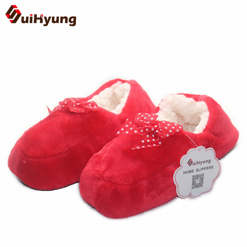 S New Women's Bow Cotton Slippers Warm Plush Indoor Shoes Non-slip Soft Bottom Home Floor Slippers home slippers soft plush cotton cute slippers shoes non slip floor indoor house home fur slippers women shoes for bedroom