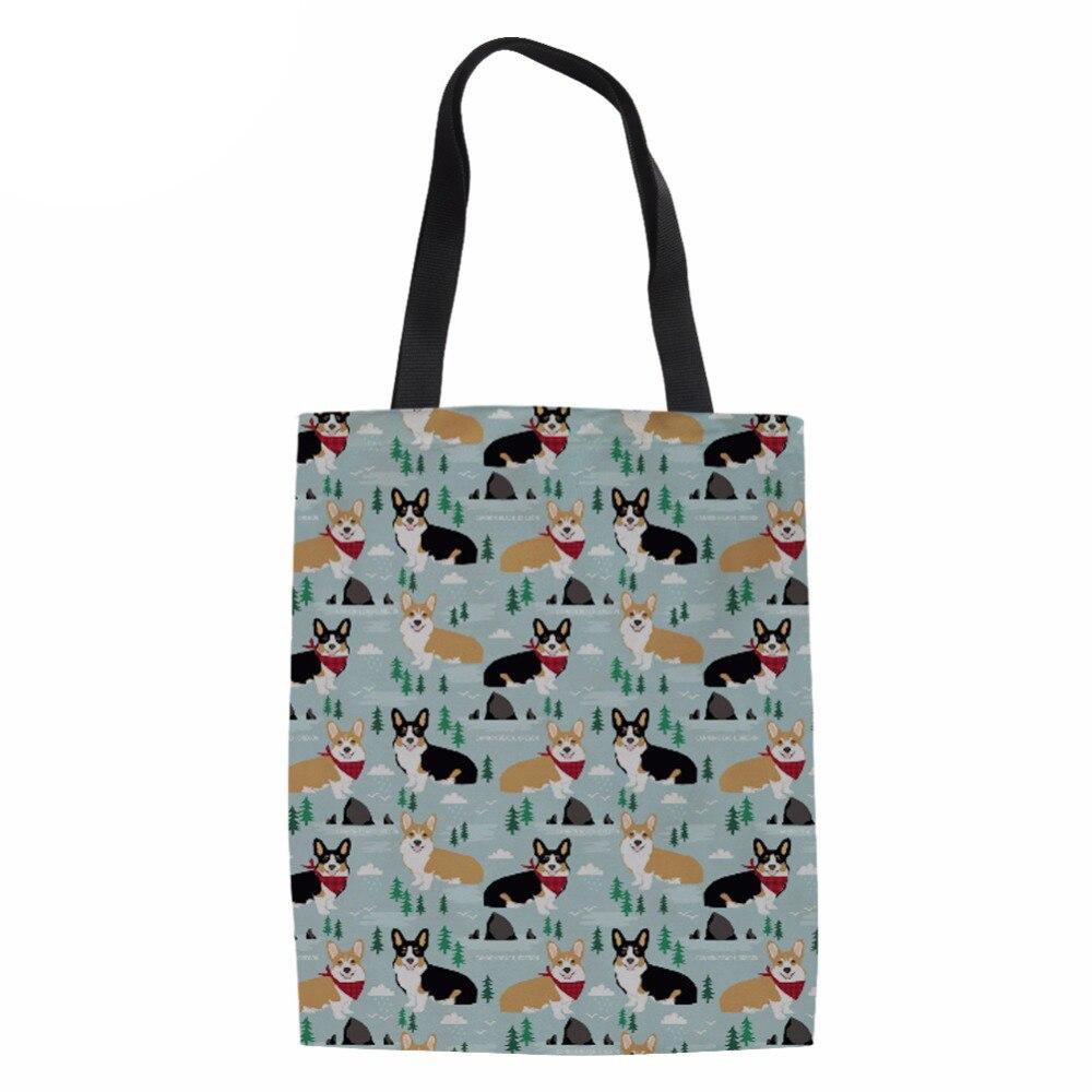 Vernuftig Vrouwen Canvas Tassen Milieuvriendelijk Dames Shopping Tote Vakantie Strand Casual Totes Diy Corgi Hond 3d Schilderen Tassen Voor Meisjes