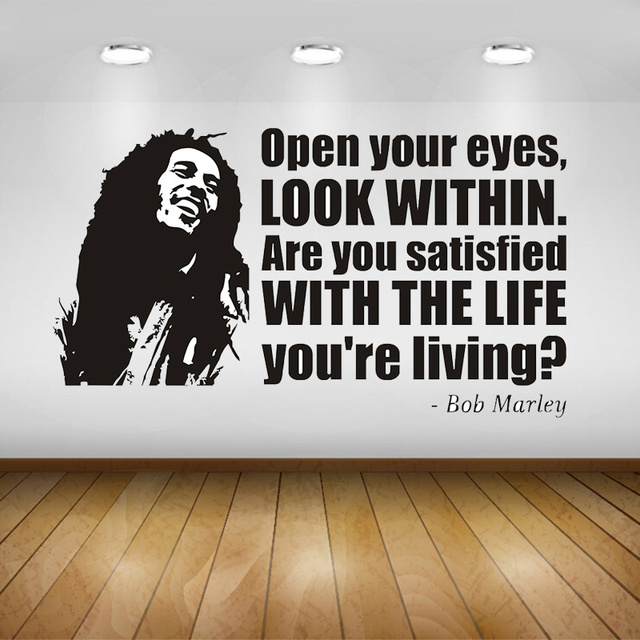 BOB MARLEY FACE & QUOTE Vinyl Sticker Decal Wall Art Phrase Famous ...