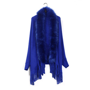 Image 5 - Nueva primavera para mujer abrigo de piel de zorro falso suéter de cachemira Poncho gris para mujer largo grueso tejido borla cárdigan capas
