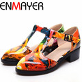 ENMAYER Spring New Preppy Style Fashion Flats Women British Hasp T-strap Carved Shoes Female Casual  Heels Oxfords Shoes