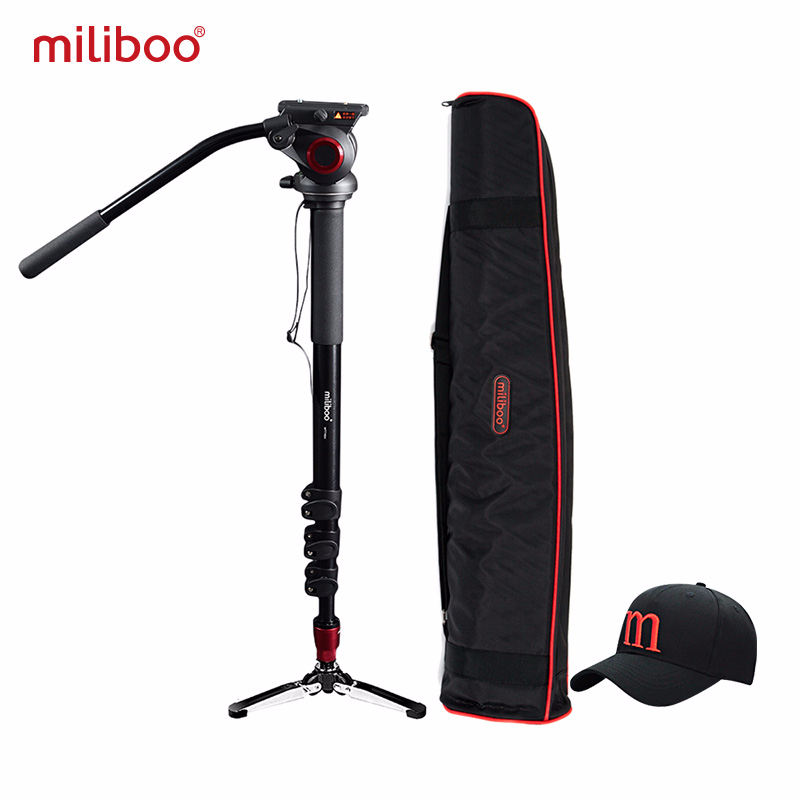 Miliboo Professional Monopod Aluminum Portable Camera Stand Hydraulic Head Tripod Stand Unipod Holder With 1/4,3/8 Screw Travel