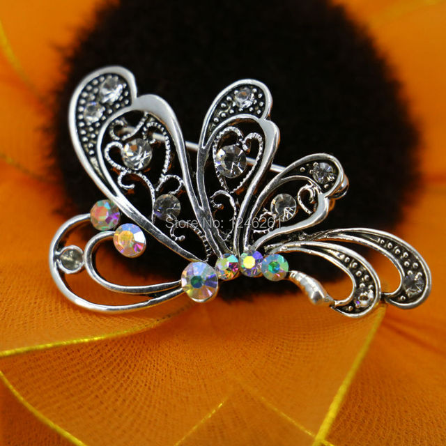 US $3 48 17% OFF Butterfly Bow Ribbon Rhinestone Brooch bouquet pins diy  Breastpin Brooches Crystal Jewelry making Design Accessories 29*49mm-in