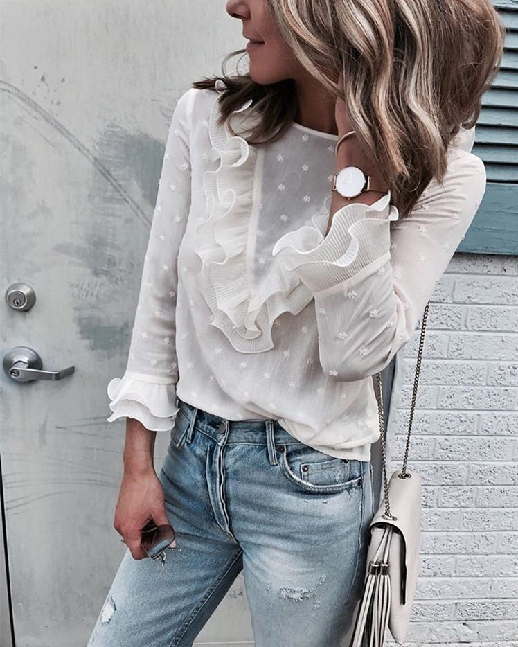 female blouses chiffon womens tops plus size tops ladies clothes sleeve white woman blouse spring new long sleeve office lady