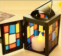 European Retro Wrought Iron Lamp Wedding Candlestick Romantic Lantern Ornaments Candle Holders Home Decoration Creative Gift