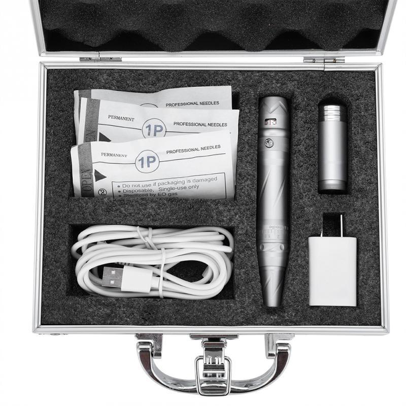 все цены на Permanent Makeup Tattoo Pen Machine Silver Alloy Eyebrow Eyeliner Lip Tattoo Pen Motor Gun 110-240V with Power Switch machine