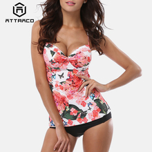 Attraco Tankini Set Women Swimsuits Retro Floral Print Swimwear Padded Push Up Bikini Bathing Suit Beach Wear