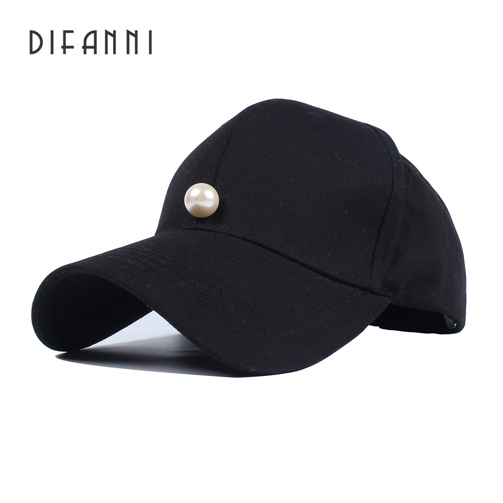 Difanni Spring Winter Warm Hats Female Pearls Solid Baseball Cap Women Cotton Garros Adjustable Snapback Hats Woman Solid
