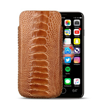 Fashion Genuine Ostrich Leg Skin Leather Phone Case Bag For Apple iPhone X Original Durable Mobile Phone Pouch Bag Case Holster
