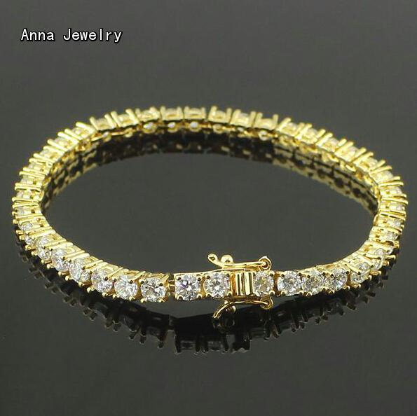 Luxury Dazzling Paved Cz Diamonds Bracelet Stainless Steel 4 G Chain With Round Zircons Fashion Tennis