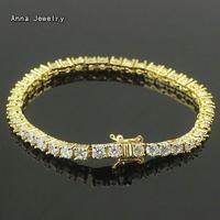 럭셔리 눈부신 포장 CZ 다이아몬드 팔찌 스테인레스 스틸 4 구 체인 라운드