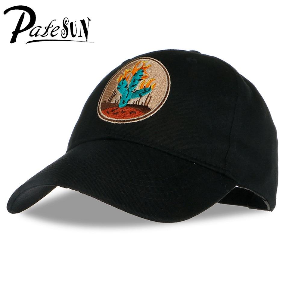 PATESUN Brand New Cactus Embroidered Baseball Cap Black 6 Panel Fishing Hat  Travis Scotts rodeo Cap White Snapback Cap ce0b3d6496a
