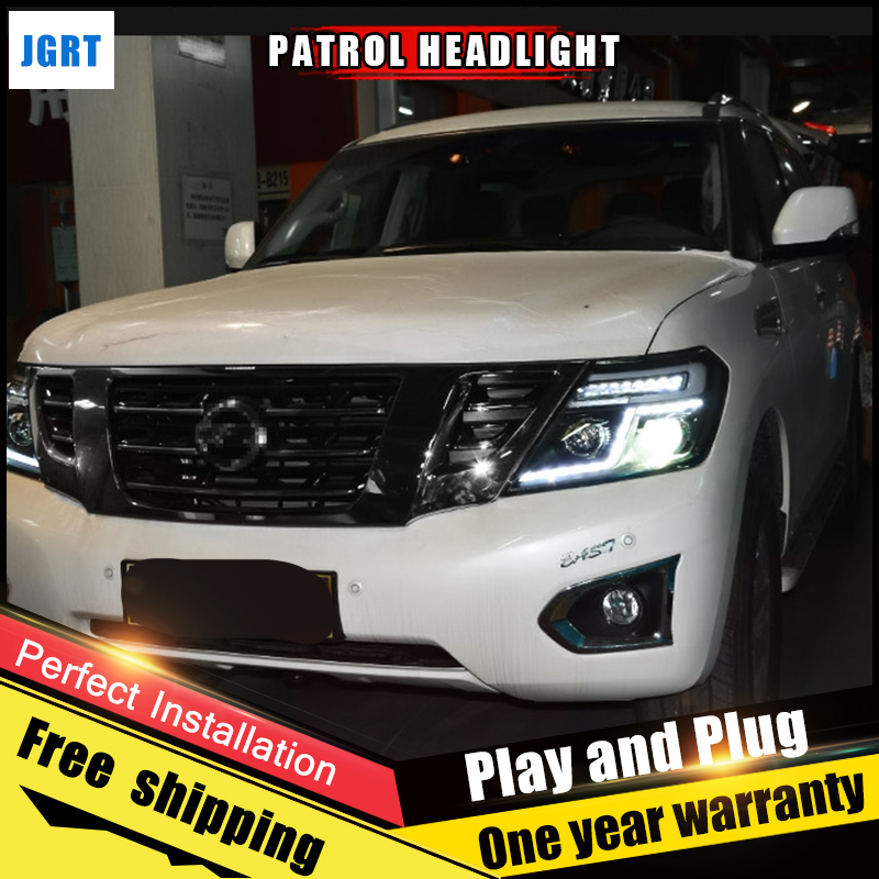 Car Style LED headlights for Nissan patrol 2012-2017 for patrol head lamp LED DRL Lens Double Beam H7 HID Xenon bi xenon lens hireno headlamp for 2016 hyundai elantra headlight assembly led drl angel lens double beam hid xenon 2pcs