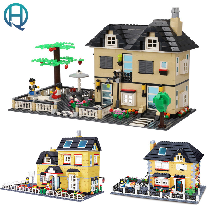Wange City Series Luxury Villa Garden DIY Model Building Blocks Bricks Sets  Educational Birthday Gift Toys for Children Kids wange city fire emergency truck action model building block sets bricks 567pcs classic educational toys gifts for children
