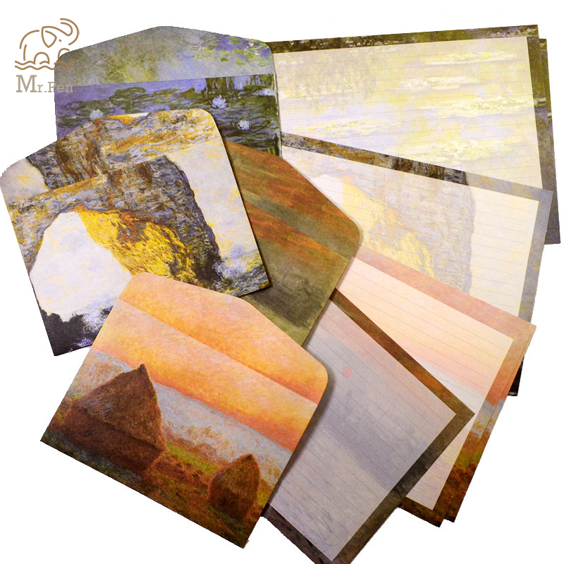 Retro 3 Sheets Letter Paper 6pcs Envelope Set Stationery Paper Monet Paintings Vintage Envelope For Student School Office Gifts