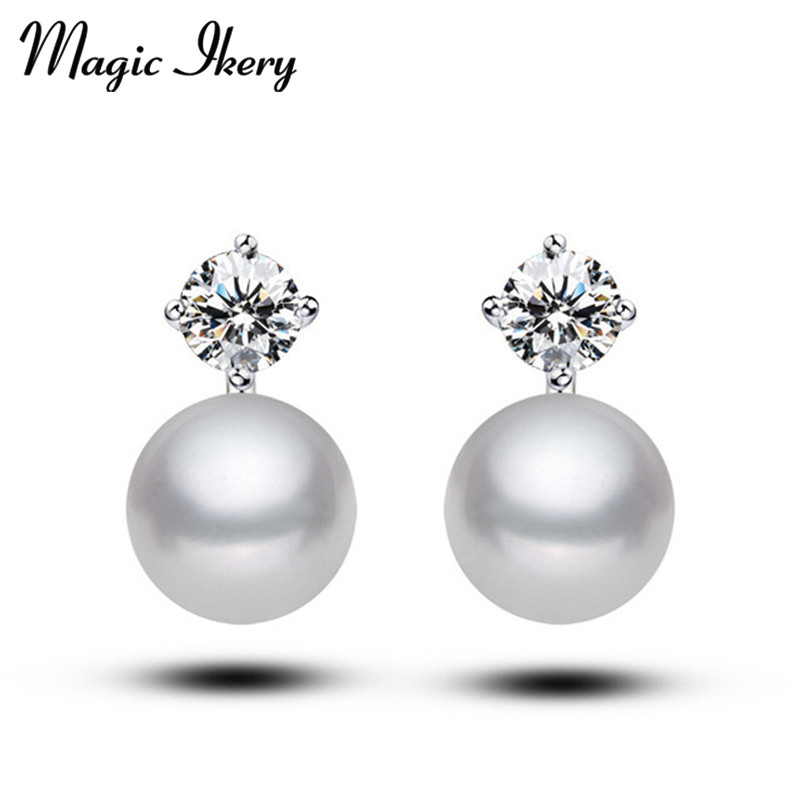 Magic Ikery Gold Color Top AAA CZ Zircon Crystal Wedding simulated pearl ball Stud Earrings for Women MKZ136