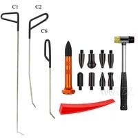14pcs Dent Remover kits Aluminum Taps down Pen Rubber Hammer PDR Rods Hook Car dent Auto body Dent Removal Paintless Dent Repair
