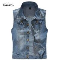 DIMUSI Men Retro Denim Vest Vintage Sleeveless Washed Jeans Waistcoat Man Cowboy Ripped HIp Hop Jeans