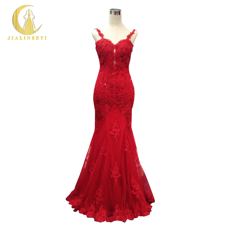 JIALINZEYI Sexy spaghetti strap Red Lace Appliques With Beads Sexy V Backless Mermaid Op ...