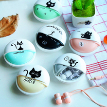 3.5mm Cartoon Cat Earphone Candy Color Stereo with Mic In-ear Earphones Case For Samsung Huawei Phone MP3 MP4 Girl Kids Gifts