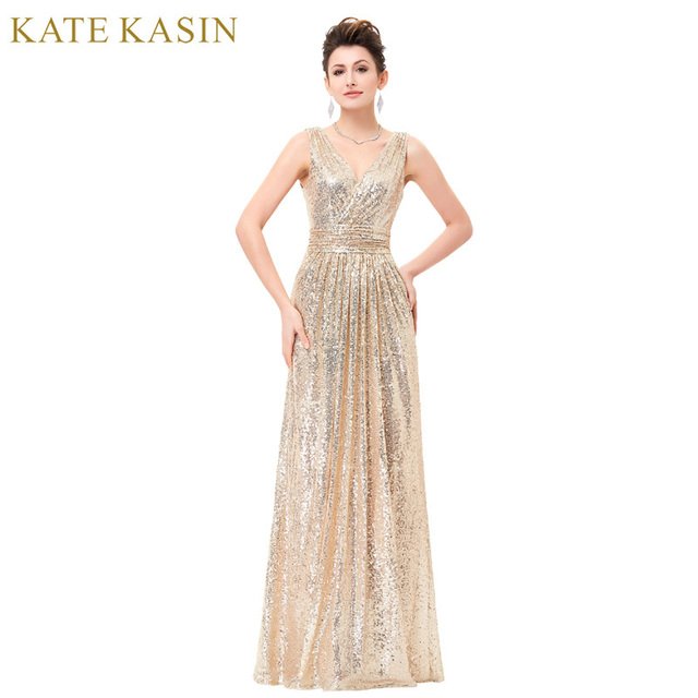 Luxe Or Argent Longue Robe De Soirée En Paillettes Rose Double V Cou robe  de Soirée 089c471071d