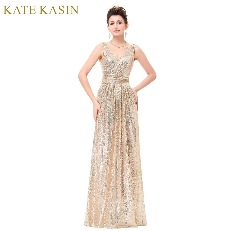 Luxury Gold Silber Lange Pailletten Abendkleid Rosa Doppel V ...