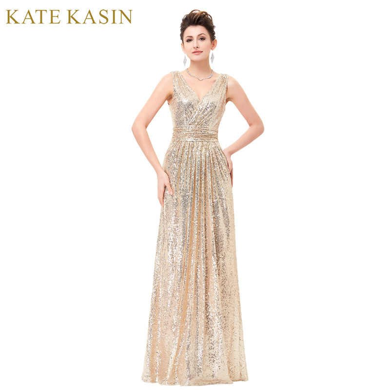 Sequin Cocktail Dress Luxury Gold Silver Long Sequin Evening Dress Pink Double V Neck Cheap Evening  Gowns Sleeveless Prom
