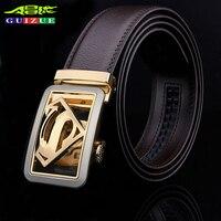 GUIZUE 2017 Designer Belts Men High Quality Luxury Brand Formal Business Superman Metal Buckle Belt For