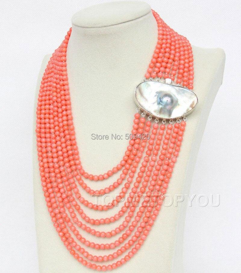 W и O655 великолепный! 8 рядов круглый розовый коралл ожерелье Mabe жемчуг 925SS
