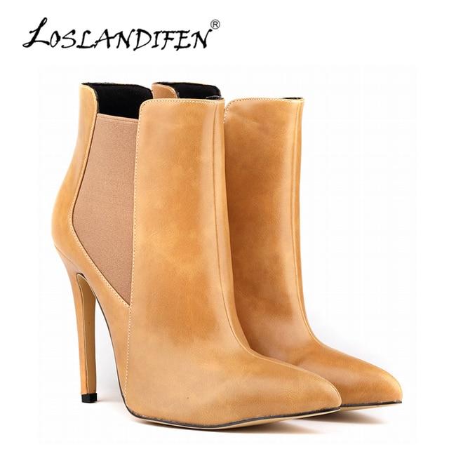 d9a03be18 LOSLANDIFEN Moda Feminina Inverno Botas de Bico fino De Couro PU sapatos de  Salto Alto das
