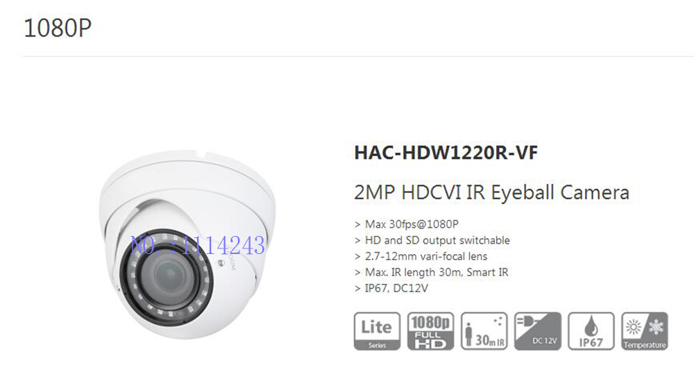 все цены на Free Shipping DAHUA CCTV Security Camera 2MP HDCVI IR Eyeball Camera IP67 without Logo HAC-HDW1220R-VF онлайн