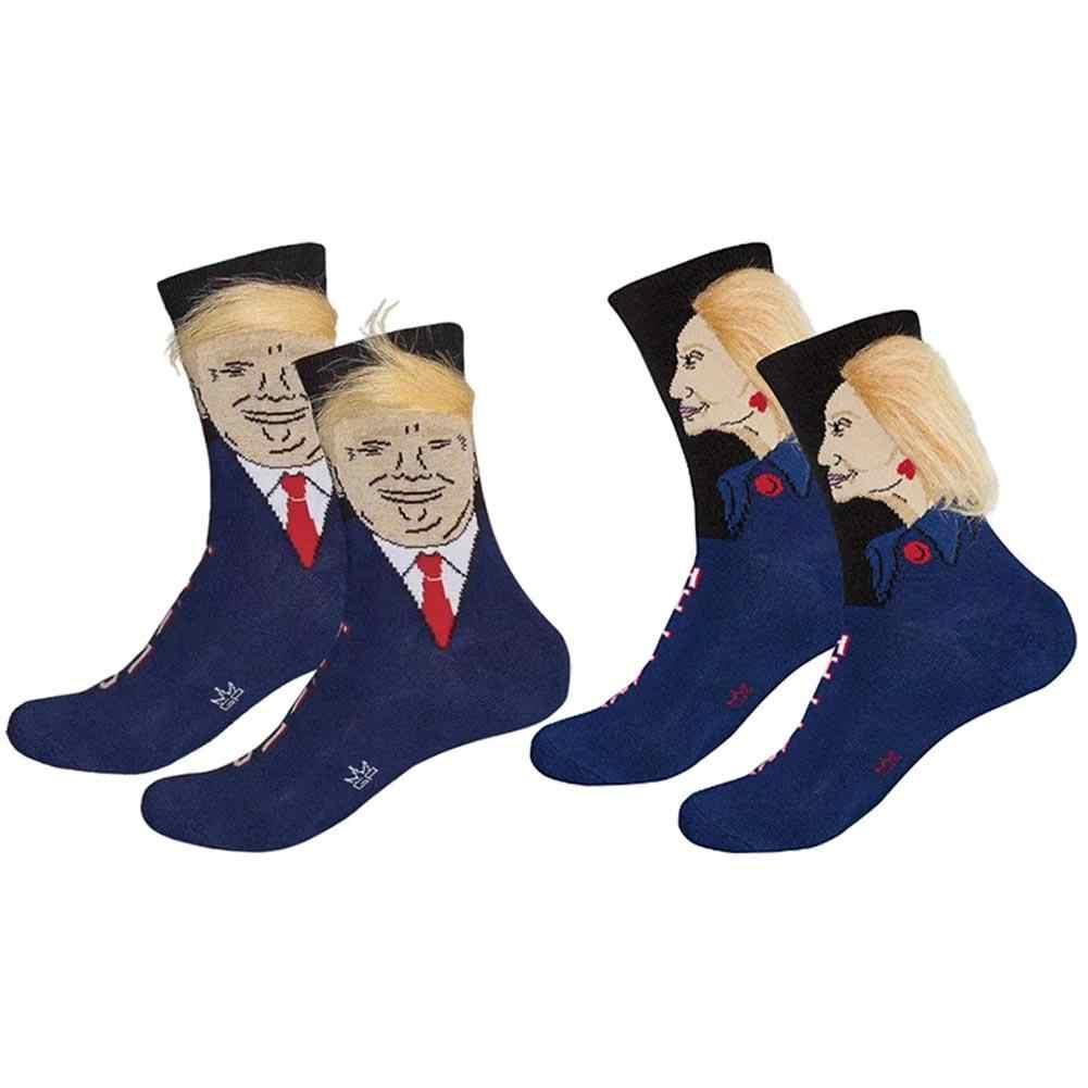 1 par el presidente Donald Trump con falso pelo peine calcetines de la tripulación por Gumball caniche Unisex divertido novedad adulto de la tripulación longitud Calcetines