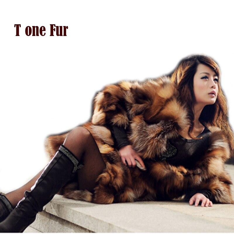 100% Pure Luxury Real Fox Fur Coat Special Classical Design Women Natural Fox Fur Long Jacket Real Fur Coat KFP748