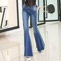 Новый Тонкий Талия Стретч Большой Рог Бахромой Женщина Ковбой Корейский широкую Ногу Брюки клеш носить край женский западная пастушка леди джинсы