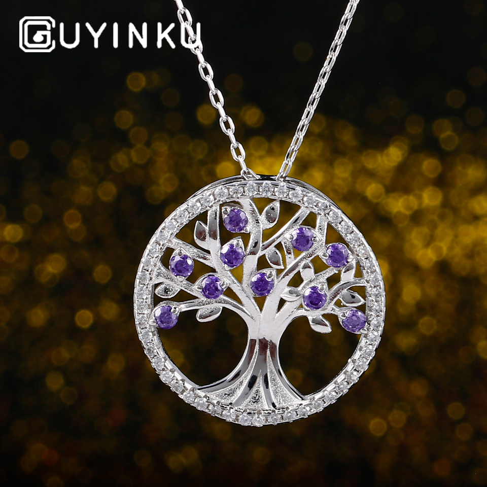 GUYINKU Genuine 925 Sterling Sliver Necklace Pendant Colorful Gemstone Spring Life Tree For Women Birthday Gift Fine Jewelry