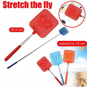 1 sztuk 73cm teleskopowy wysuwany Fly Swatter plastikowy prosty wzór Fly Swatter przydatne Pest Mosquito Control narzędzia Pat Pat tanie i dobre opinie YP188435 Plac Stainless steel + plastic 28cm x 11 5cm x 8 5cm 11 x 4 5 x 3 3 73 5cm 28 9 Color Random Retractable Fly Swatter