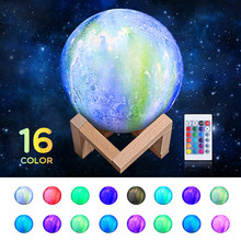 3D Moon Lamp 16 Colors Change Night Light Toilet Light Night Brightness Adjust Decoration Lamp  Remote & Touch Control USB novelty night light moon lamp 3d rechargeable touch control lights 16 colors change with remote night lamps for child home decor