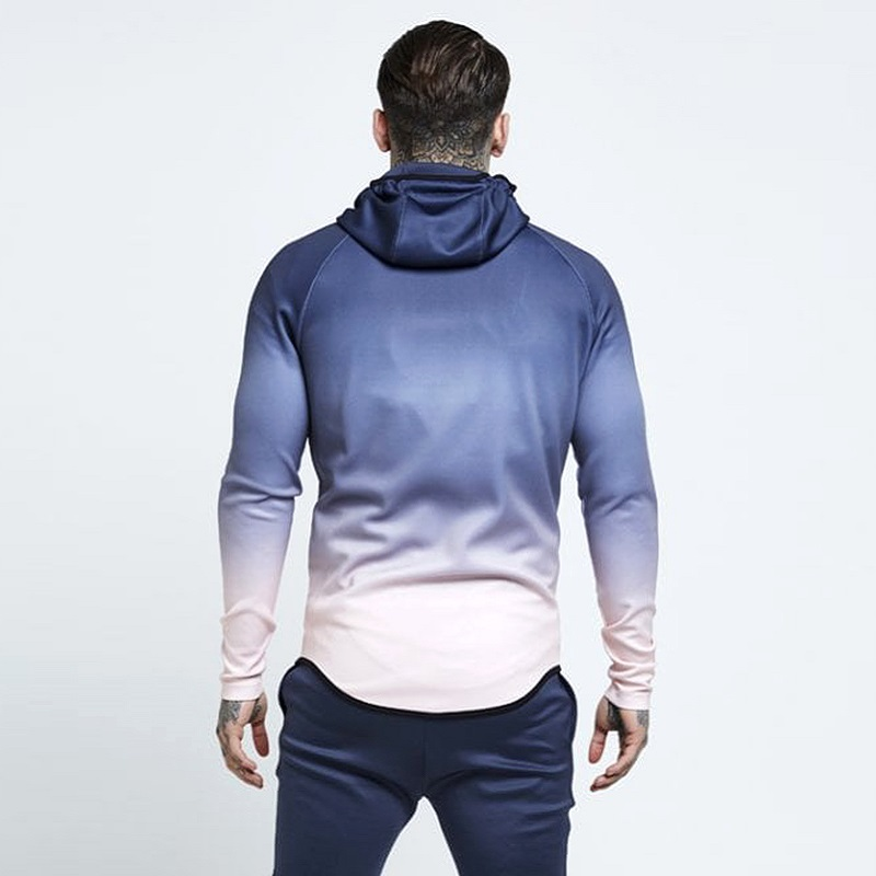 spring men jacket fashion gradient color thin hooded sweatshirt mens slim zipper Cardigan brand outerwear hoodies streetwear Top