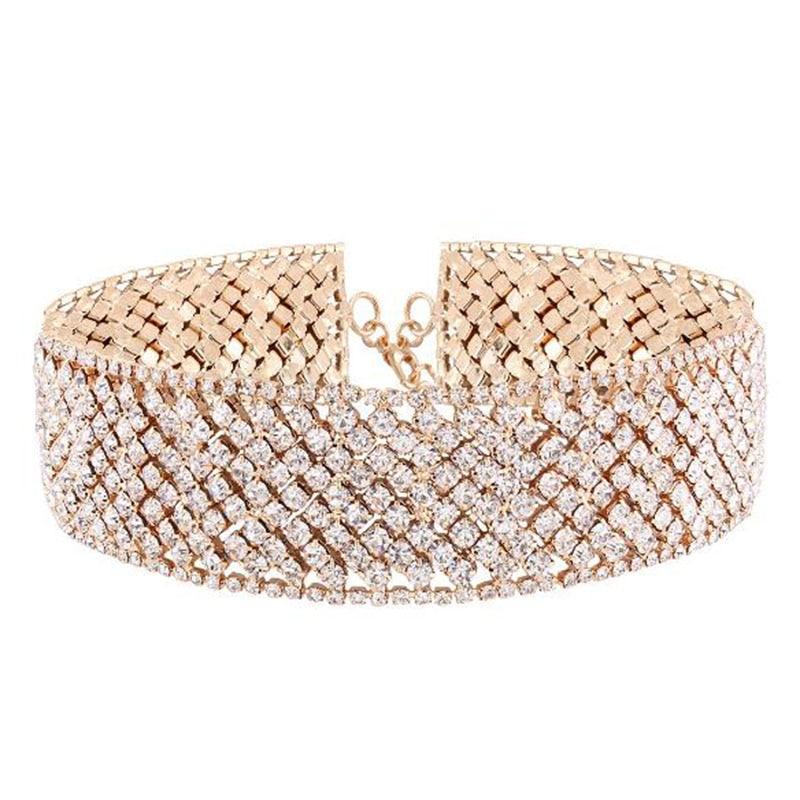 Luxury Layer Rhinestone Chain Choker Necklace For Women Cute Full Crystal Collar Choker Fashion Bridal Jewelry Colliers Colar