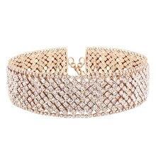 Capa de lujo rhinestone choker collar para las mujeres de cadena cristalino lleno lindo collar choker moda nupcial joyería carboneros colar