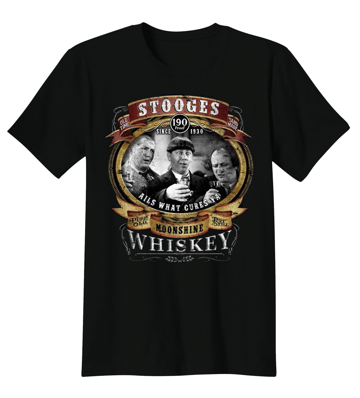 Gildan Three Stooges T-Shirt Larry Moe & Curly Whiskey Moonshine Funny Comedy Legends