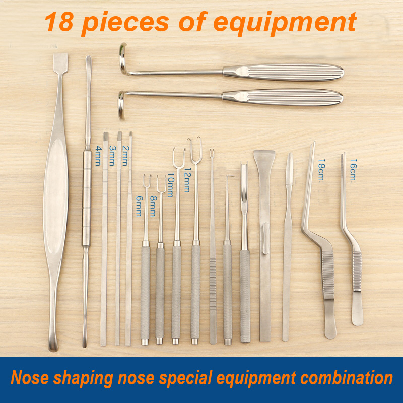 Eyelid ToolsNasal Plastic Surgery Tool 18 Pieces Combination Nasal Chisel Joseph Stripper Right Angle Double Claw Hammer Gun Gun
