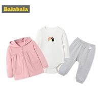 Balabala Baby 3 Piece Hooded Jacket with Zip + Rainbow Bodysuit + Pull on Joggers Pants Clothes Set Infant Newborn Baby Girl Boy