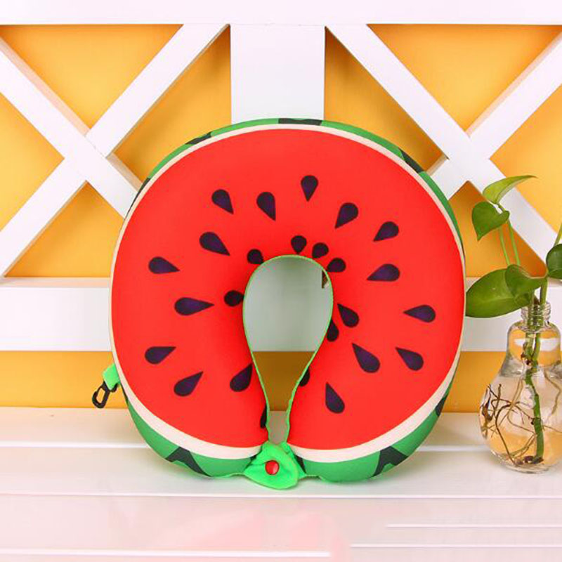Nieuwe Hot Cool Fruit U Vormige Kussen Kussen Nanodeeltjes Bescherming Nekkussen Auto Reizen Massage Kussen 3d Friut Kussen Firm In Structuur