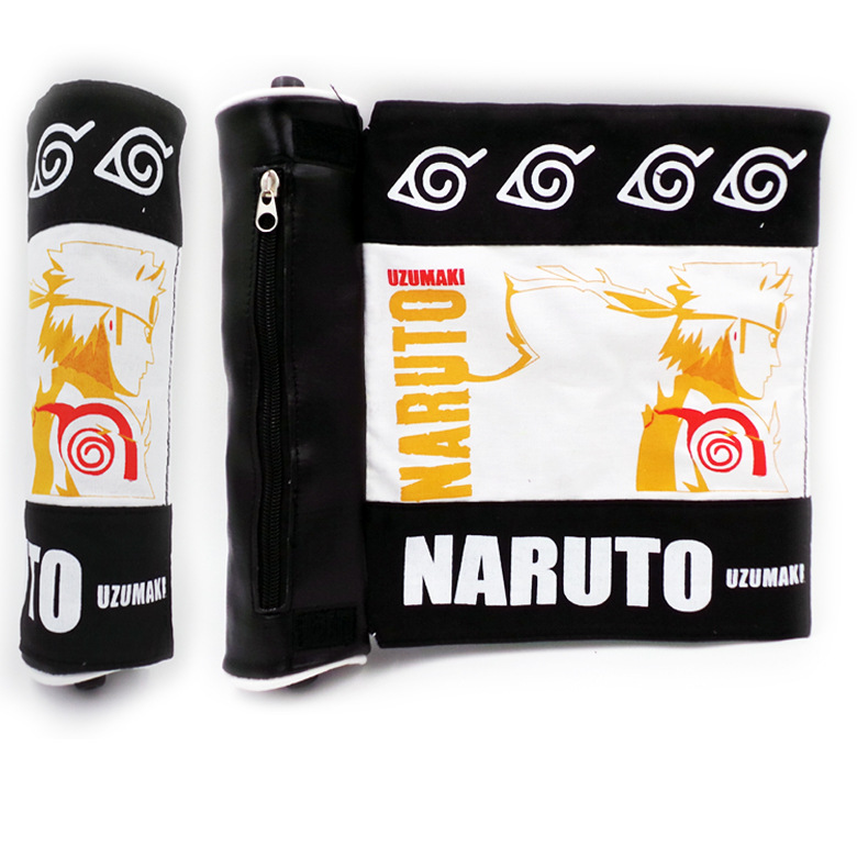 9.8/25cm Canvas+PU Scroll Bag With Anime NARUTO Shippuden Uzumaki Naruto Konoha Mark ...