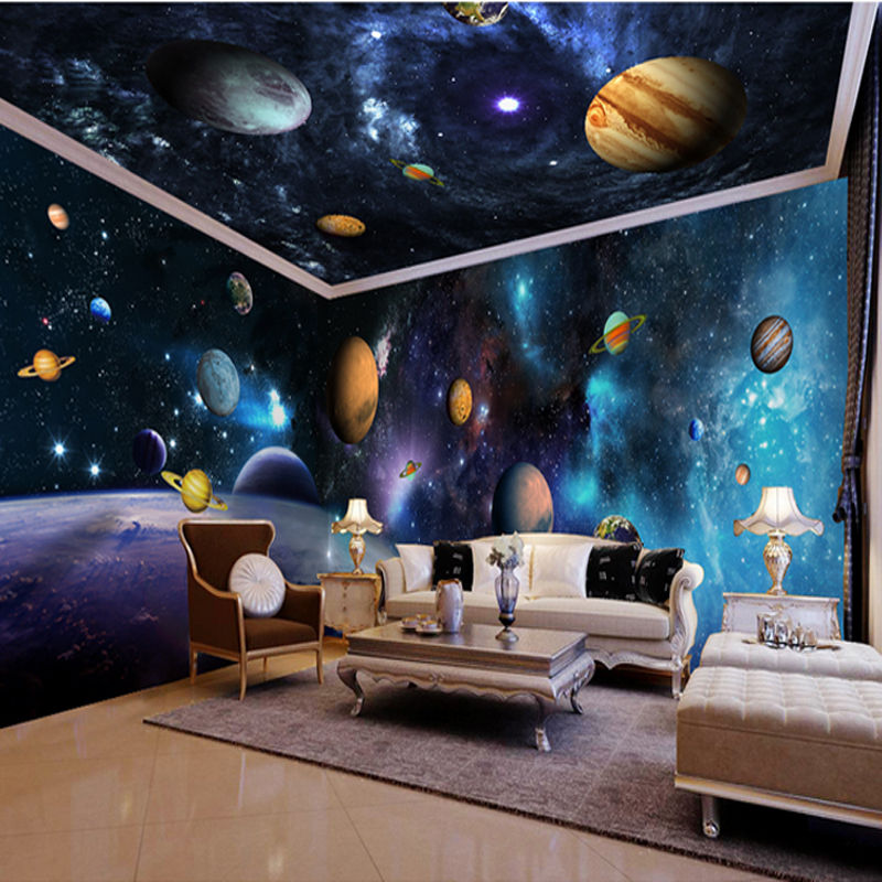 3d papel parede outer space decor 3d cartoon wallpaper for Outer space childrens decor